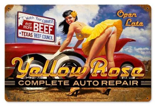 Yellow Rosie Repair  - Pin-Up Girl Metal Sign  18 x 12 Inches
