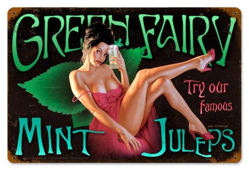 Retro Green Fairy  - Pin-Up Girl Metal Sign 18 x 12 Inches