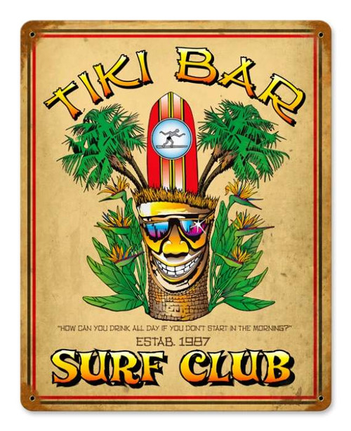 Retro Tiki Bar Metal Sign 18 x 12 Inches
