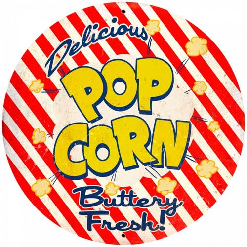 Retro Popcorn Round Metal Sign 28 x 28 inches