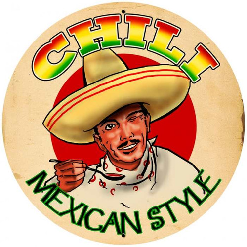 Retro Chili Round Metal Sign 28 x 28 inches