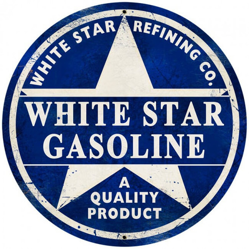 Vintage White Star Gasoline Giant Round Metal Sign 28 x 28 Inches