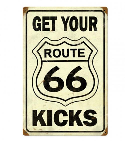 Vintage Route 66 Get Your Kicks Metal Sign