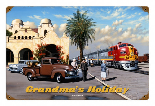 Retro Grandmas Holiday Metal Sign   18 x 12 Inches