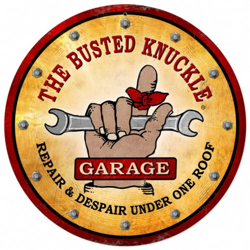 Vintage  Busted Knuckle Garage Round Metal Sign 14 x 14 Inches