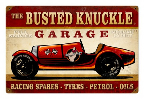 Vintage Race Car Metal Sign 18 x 12 Inches