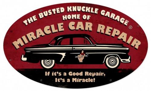 Vintage  Miracle Repair Metal Sign 24 x 14 Inches
