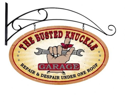 Retro  Busted Knuckle Garage Metal Sign 24 x 14 Inches