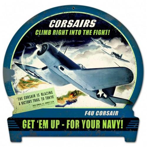 Retro Corsairs Climb Round Banner Metal Sign 15 x 16 Inches