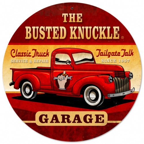 Vintage Old Truck Metal Sign 14 x 14 inches