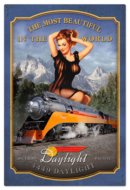 Vintage Daylight Train Metal Sign 24 x 36 Inches