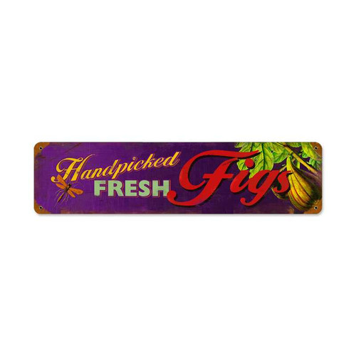 Vintage Fig Fresh Metal Sign  20 x 5 Inches