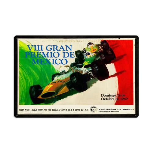 Retro Mexico Grand Prix Metal Sign 24 x 16 Inches