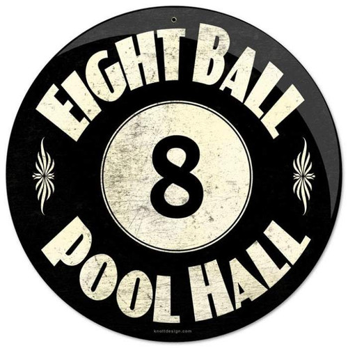 Vintage 8 Ball Pool Hall Round Metal Sign 14 x 14 Inches