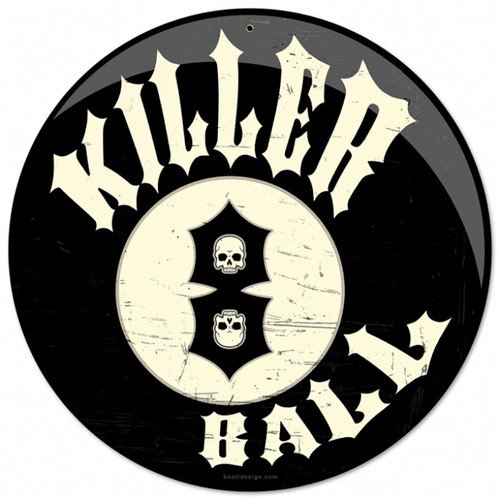 Vintage Killer 8 Ball Round Metal Sign 14 x 14 Inches
