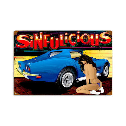 Retro Sinfulicious Metal Sign   18 x 12 Inches