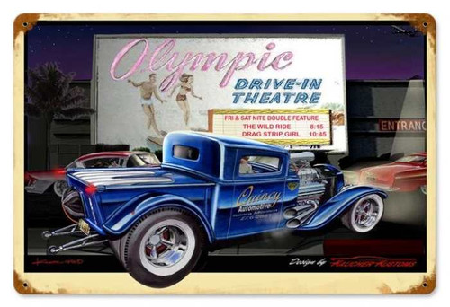 Retro Olympic Drive In Metal Sign   18 x 12 Inches