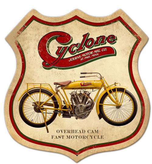 Retro Cyclone Metal Sign 15 x 15 Inches