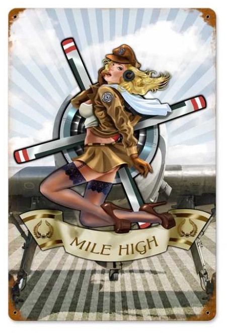 Vintage Mile High Metal Sign 12 x 18 Inches