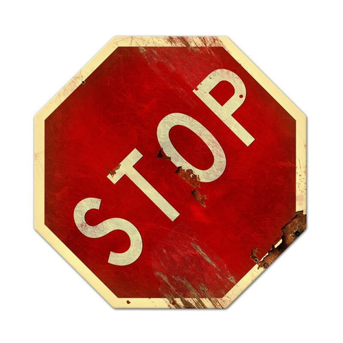Retro Stop Metal Sign 16 x 16 Inches