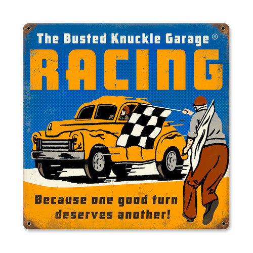 Retro Racing Metal Sign  12 x 12 Inches