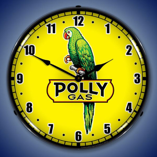 Retro Polly Gas 2 Lighted Wall Clock 14 x 14 Inches