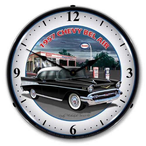 Retro 1957 Chevy Esso Lighted Wall Clock