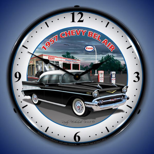 Retro 1957 Chevy Esso Lighted Wall Clock 14 x 14 Inches
