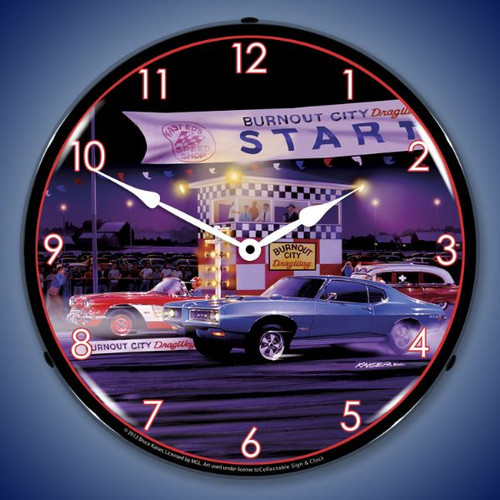 Retro Drag City Lighted Wall Clock 14 x 14 Inches