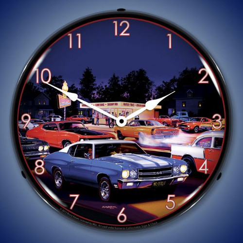 Retro Fast Freds Lighted Wall Clock 14 x 14 Inches