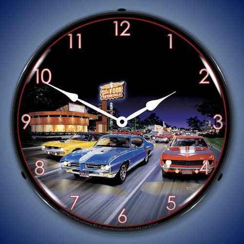 Retro Woodward Avenue Lighted Wall Clock 14 x 14 Inches