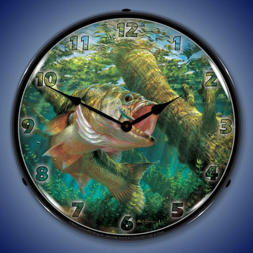 Fishing the Wood mouth Bass Lighted Wall Clock 14 x 14 Inches