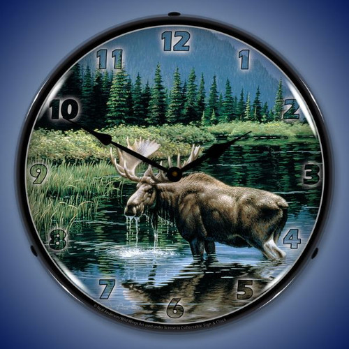 Northern Solitude Moose Lighted Wall Clock 14 x 14 Inches