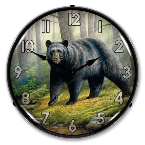 Woodland Morning Bear Lighted Wall Clock