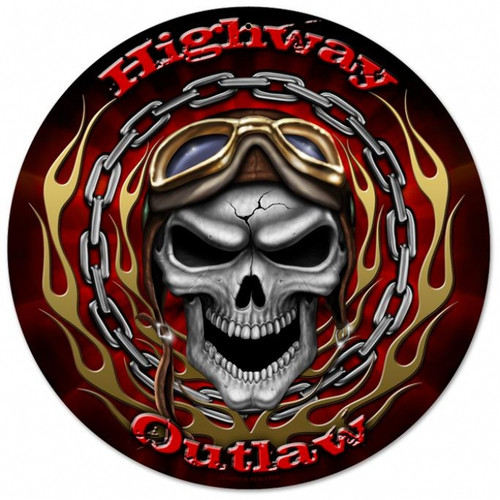 Vintage Highway Outlaw Round Metal Sign 14 x 14 Inches