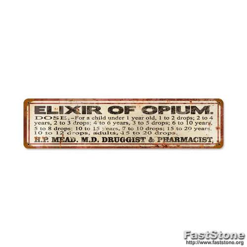 Retro Elixer of Opium Vintage Metal Sign 20 x 5 Inches