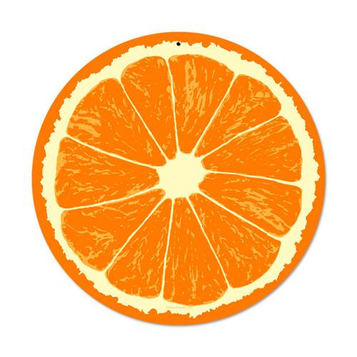 Retro Orange Round Metal Sign 14 x 14 Inches