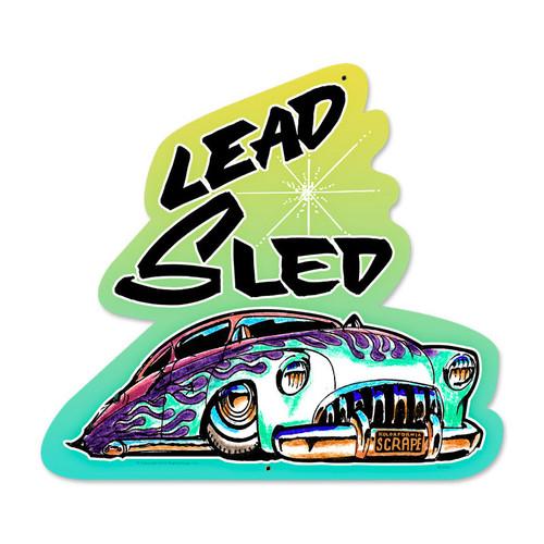 Retro Lead Sled Custom Metal Shape 17 x 18 Inches