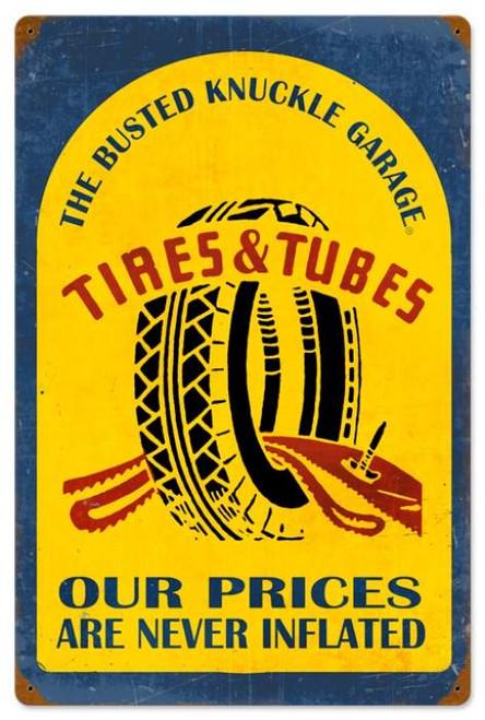 Retro Tire Repair Metal Sign 16 x 24 Inches