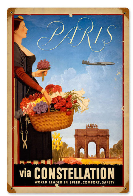 Paris Foreign Language Metal Sign   12 x 18 Inches