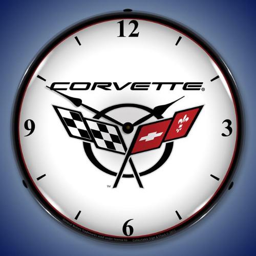 Retro C5 Corvette 2 Lighted Wall Clock 14 x 14 Inches