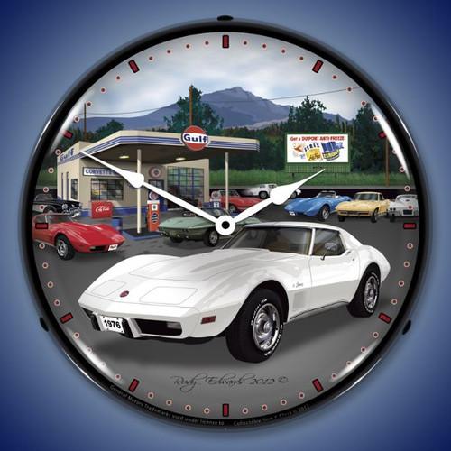 Retro 1976 Corvette Lighted Wall Clock 14 x 14 Inches