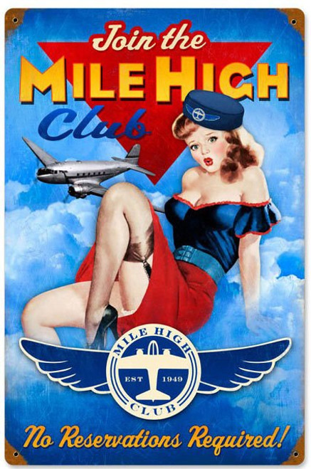Mile High Club USPS Stamp Metal Sign   12 x 18 Inches
