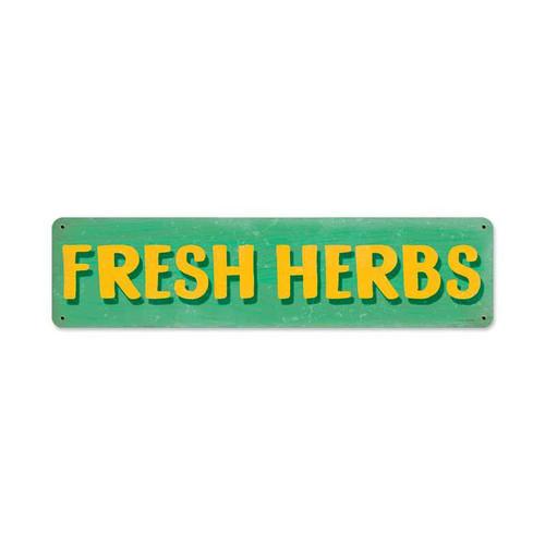Retro Fresh Herbs Metal Sign 20 x 5 Inches