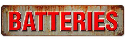 Retro Batteries Metal Sign 20 x 5 Inches