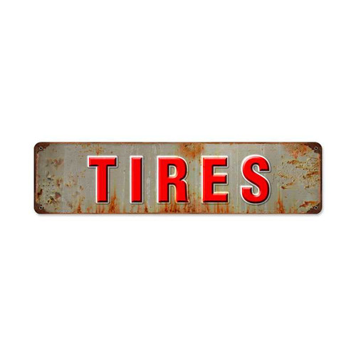 Retro Tires Metal Sign 20 x 5 Inches