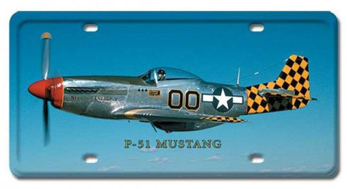 Vintage P-51 Mustang License Plate 6 x 12 Inches