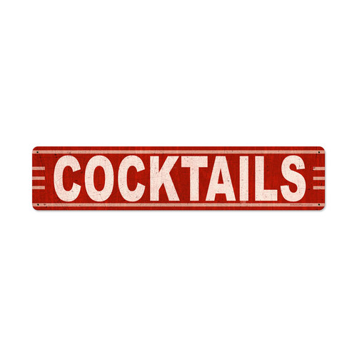 Cocktails Metal Sign 28 x 6 Inches