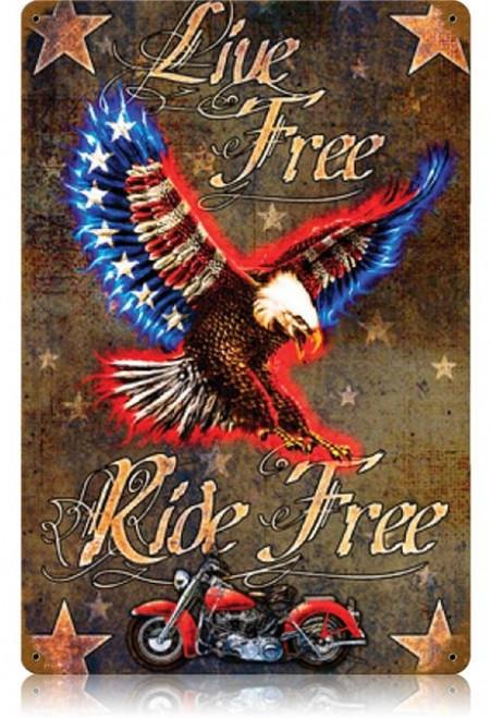 Vintage Live Free Die Free Metal Sign   12 x 18 Inches