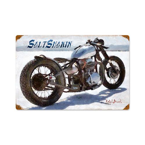 Salt Shakin Motorcycle Vintage Metal Sign  18 x 12 Inches